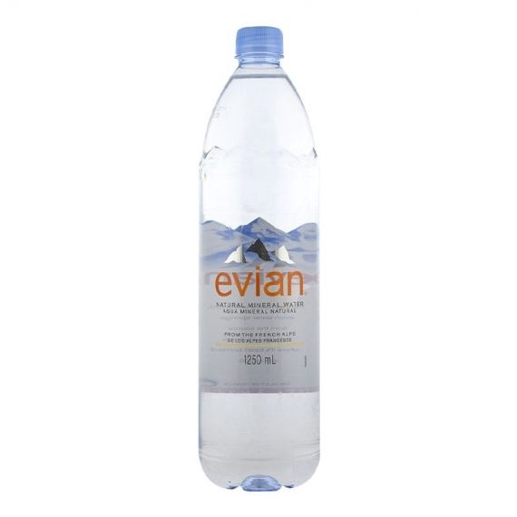 Agua mineral Evian 1.25 litros pack 6 botellas