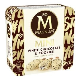 Helado Magnum mini chocolate blanco y cookies 6 ud